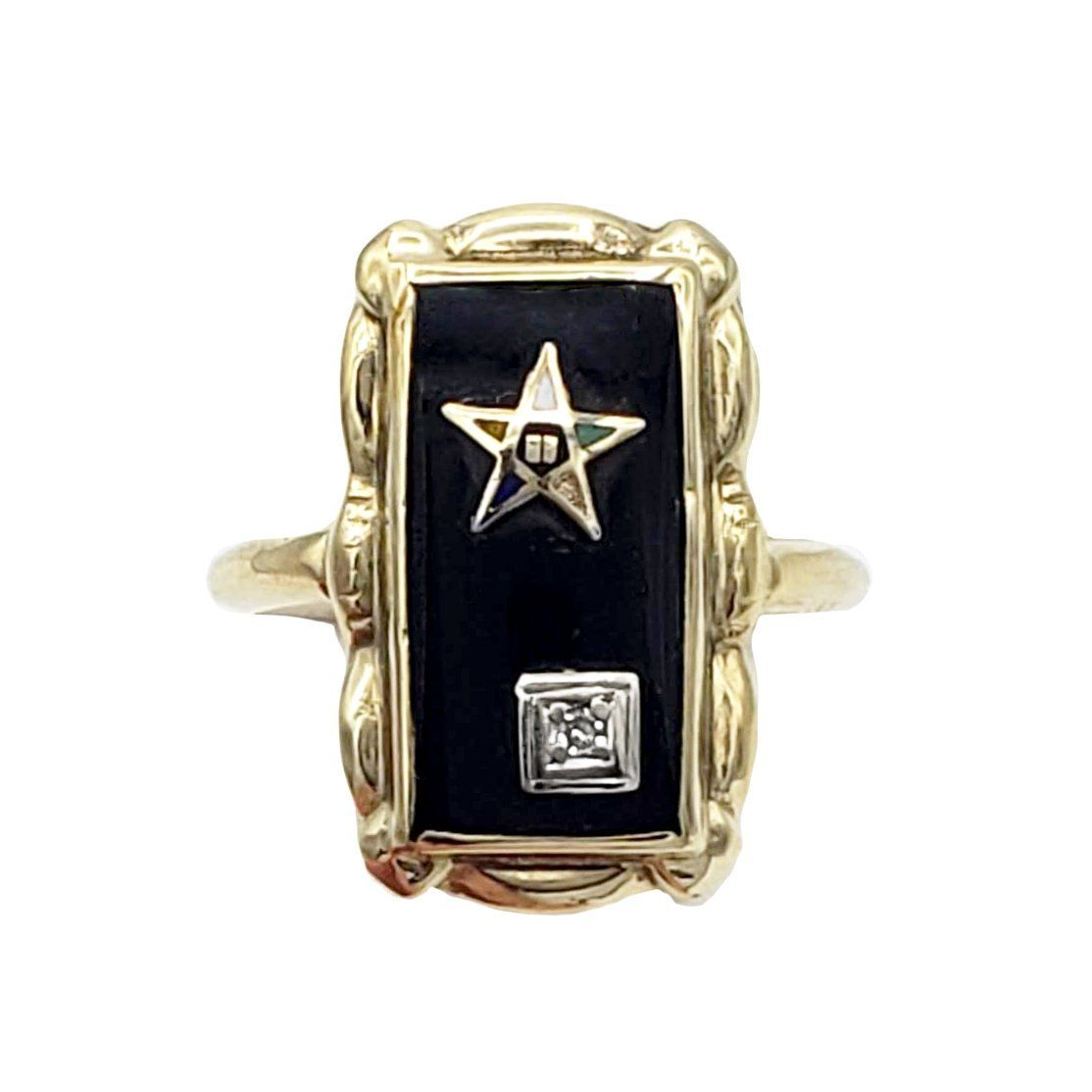 Vintage Eastern Star Ring In 10k Gold With Black Onyx And Etsy Ladies Silver Rings Star Ring Black Onyx Jewelry