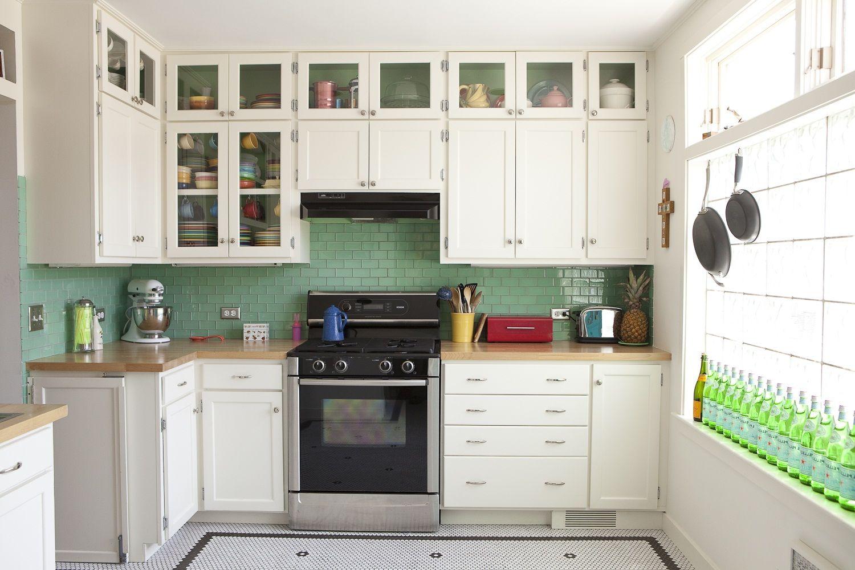White Cabinets With Green Back Splash Simple Kitchen Design Kitchen Remodel Small Interior Design Kitchen