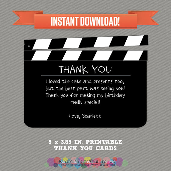 Movie Party Thank you Cards   Movie Night by PartyPrintables2go - movie ticket invitation template free printable