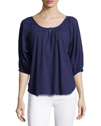 Nancy Scoop-Neck Cotton Blouse by Joie at Bergdorf Goodman.