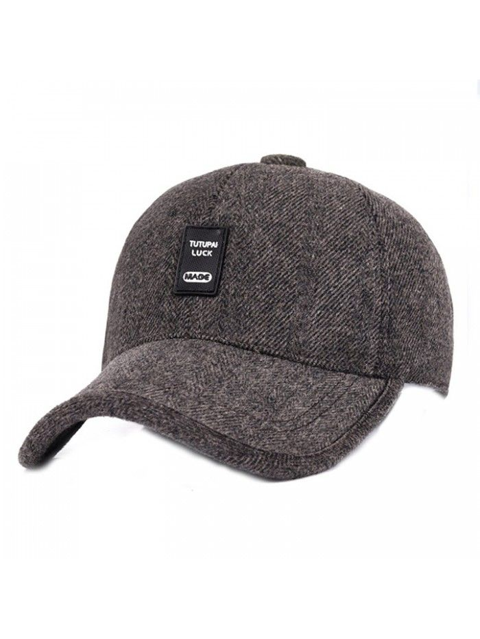 Mens Winter Warm Wool Baseball Caps Hat With Fold Earflap - Brown ... 2a9d6d83ec5