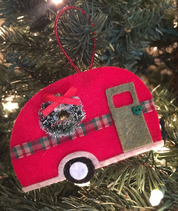 camper ornament happy camper camper vintage by thelilfeltshoppe - Camper Christmas Decorations