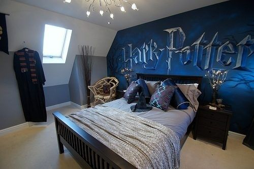 this subtle yet awesome harry potter bedroom. | harry potter