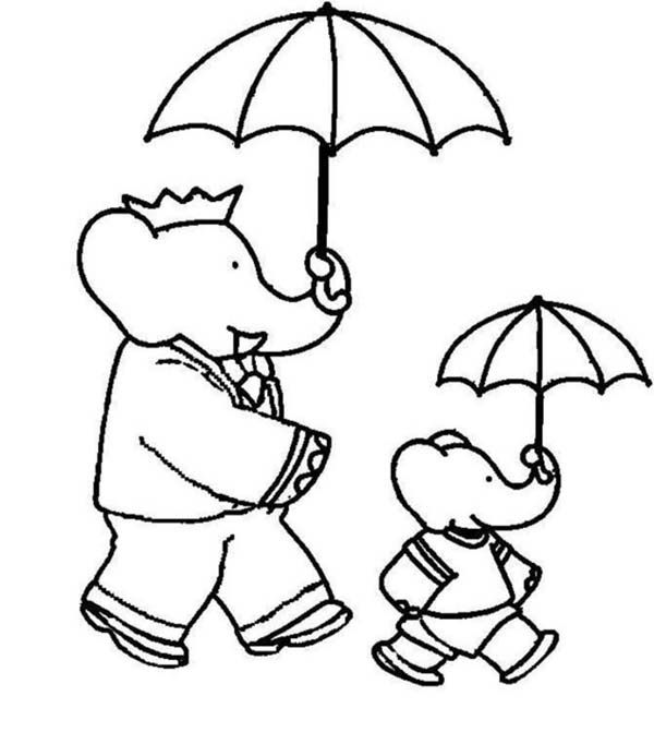 babar the elephant and pom holding umbrella coloring pages batch