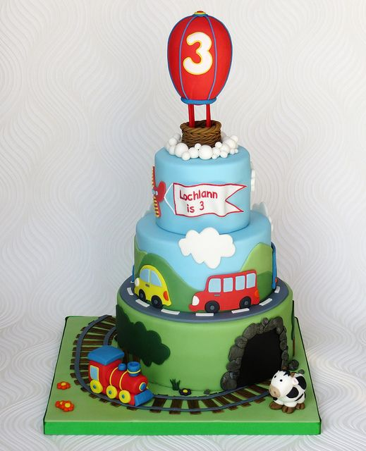Birthday Train Cake 3 levels plus balloon topper mountain and cods