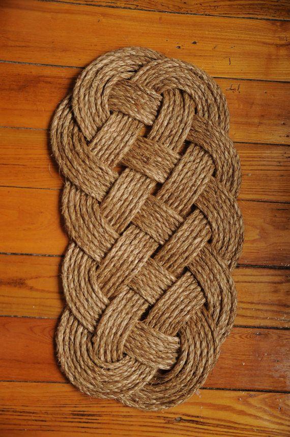 Nautical Rope Rug Manila Mat By Oyknot On Etsy 50 00 Rope Rug Handmade Nautical Rope
