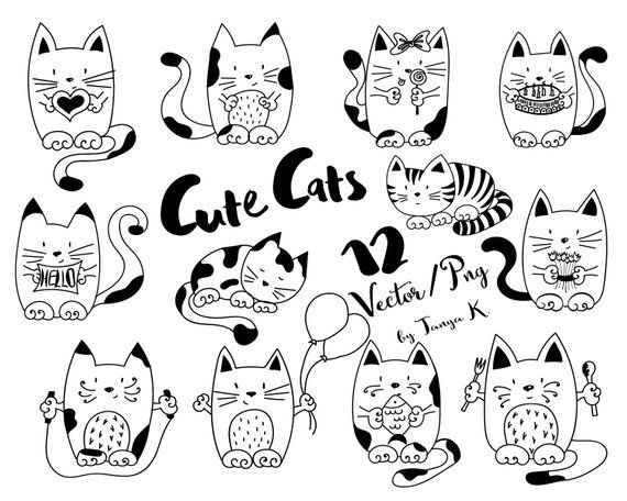 edc51a553f1ab Cats Clip Art, Doodles Pet, Hand Drawn Vector, Commercial Use ...