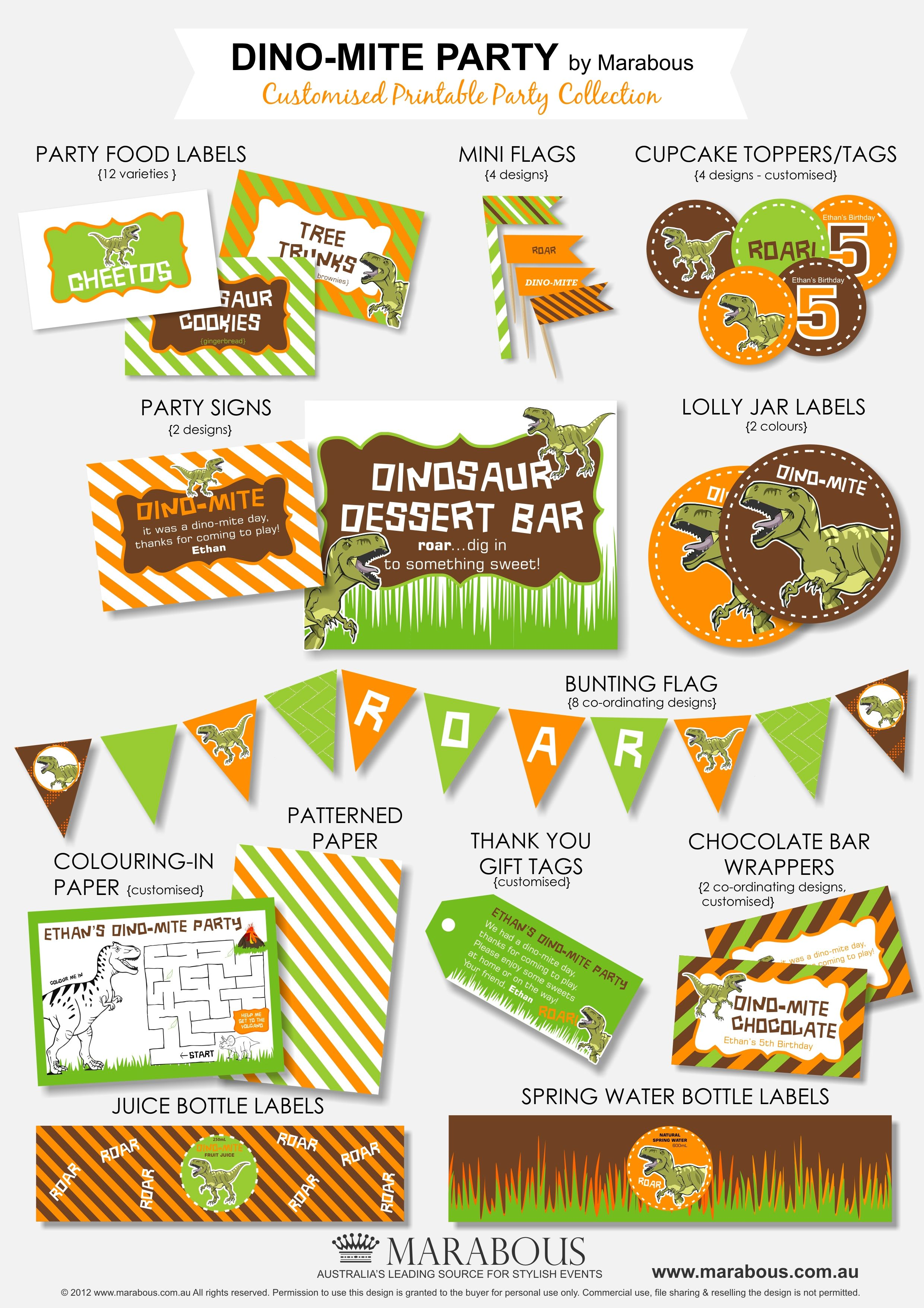 Dino-Mite Printable Party Collection. COLORS AND DIAGONAL STRIPES ...