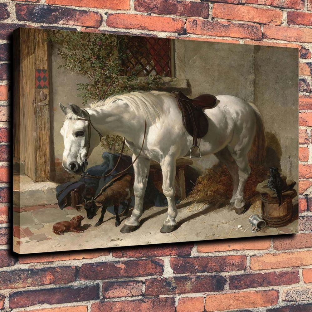 Canvas prints oil painting pinto a white horse haystack home decor