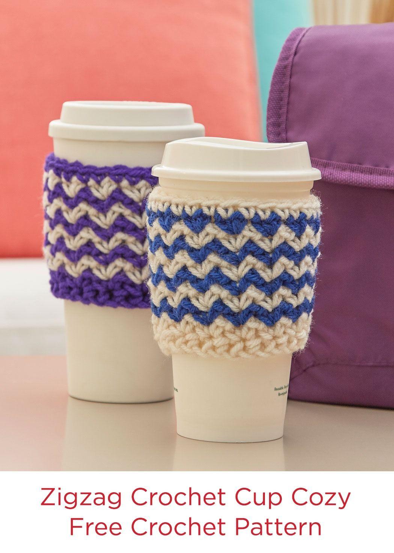 Zigzag Crochet Cup Cozy Free Crochet Pattern in Red Heart Yarns ...