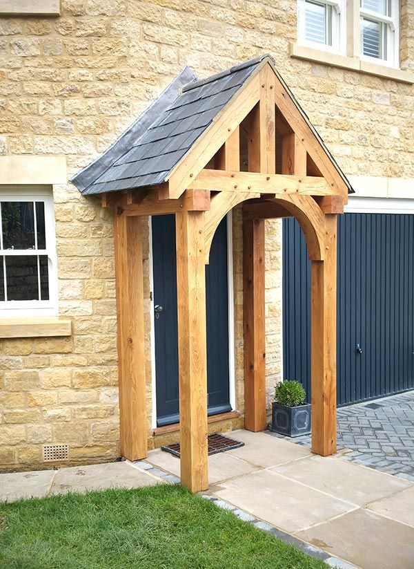 A Neat Oak Porch On A Stone Barn House Ideas Porch