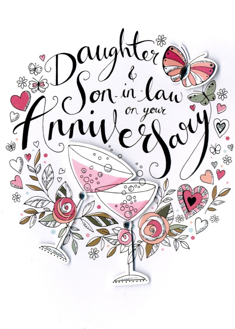 Daughter Son In Law Anniversary Card Cards Happy Anniversary Quotes Wedding Anniversary Wishes Happy Anniversary Cards