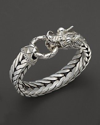 John Hardy Men S Naga Silver Dragon Head Bracelet On Fishtail Chain Bloomingdale