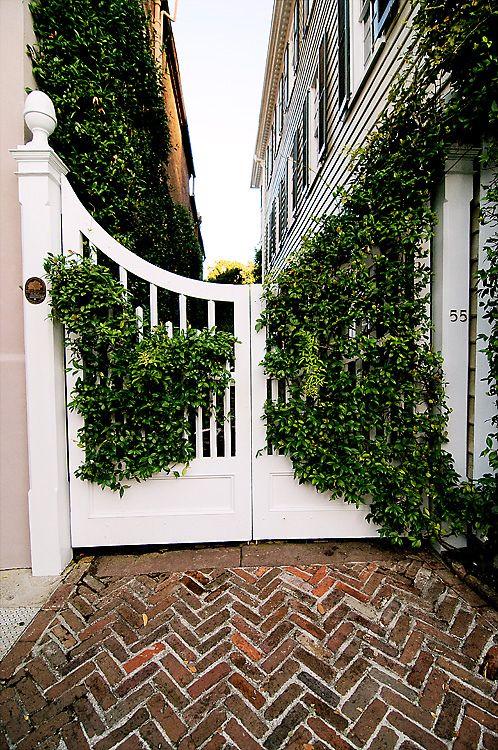 Charleston gate herringbone brick outdoor living for Charleston style fence