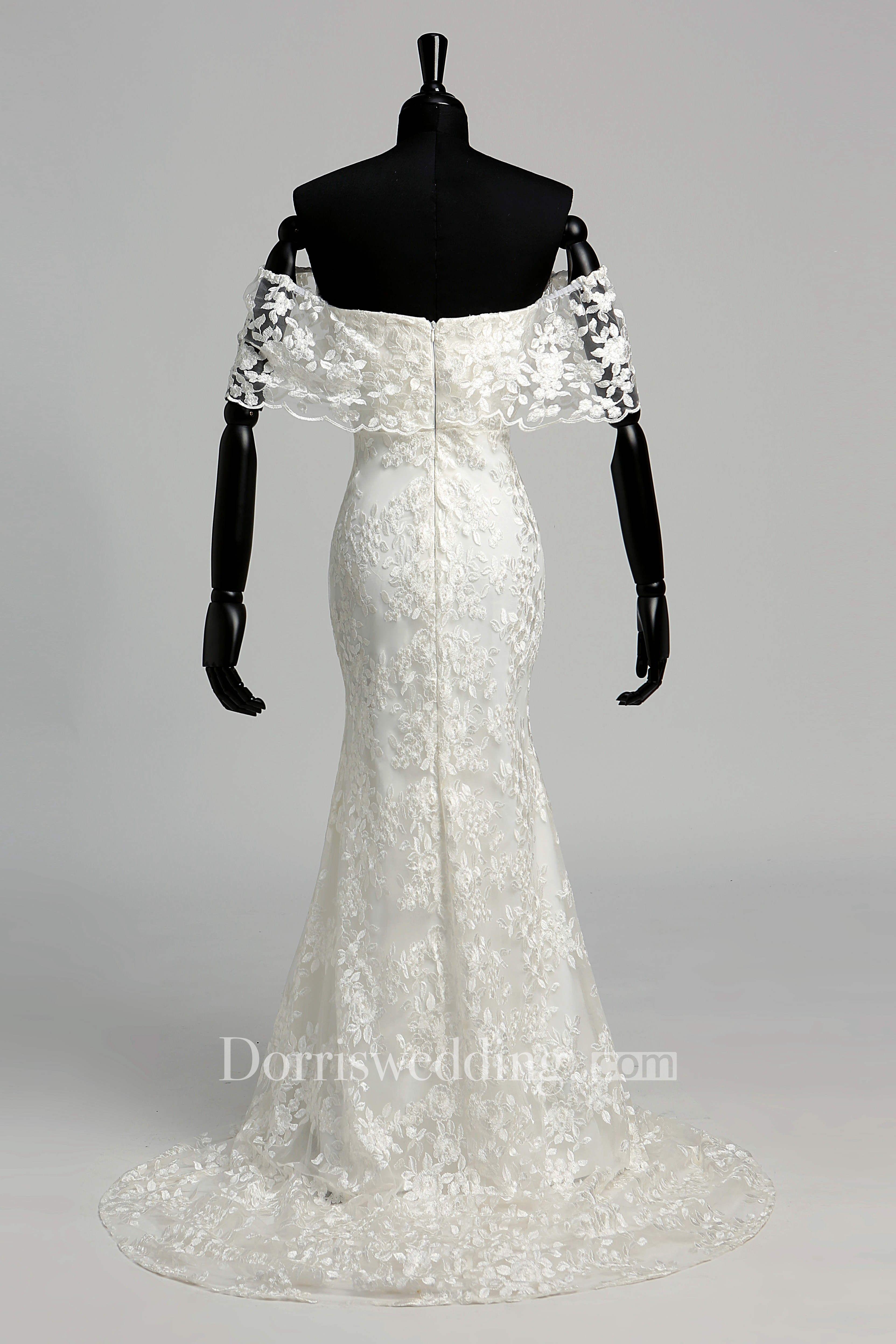 Mermaid Trumpet Vow Renewal Cap Half Sleeve Wedding Dress Dorris
