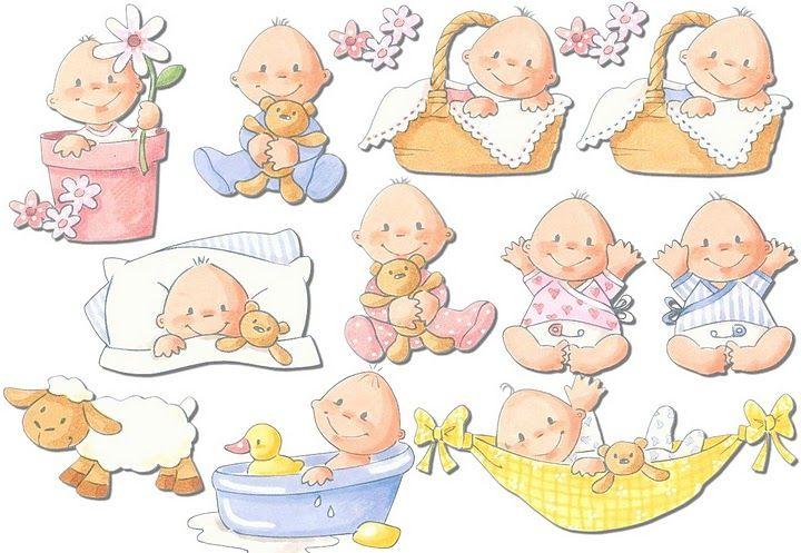Bebes de color rosa y azul con su peluche y sus cositas de for Pegatinas pared bebe