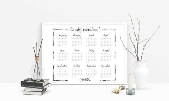 Yearly Calendar  Calendar Printable Year At A By Mycolormood