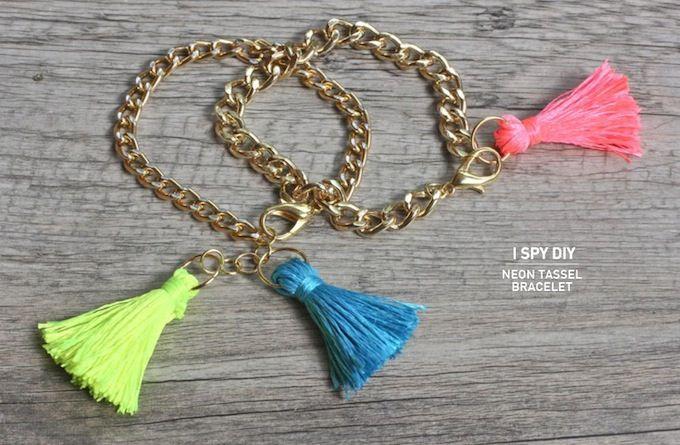 I Spy DIY: MY DIY | Neon Tassel Bracelets