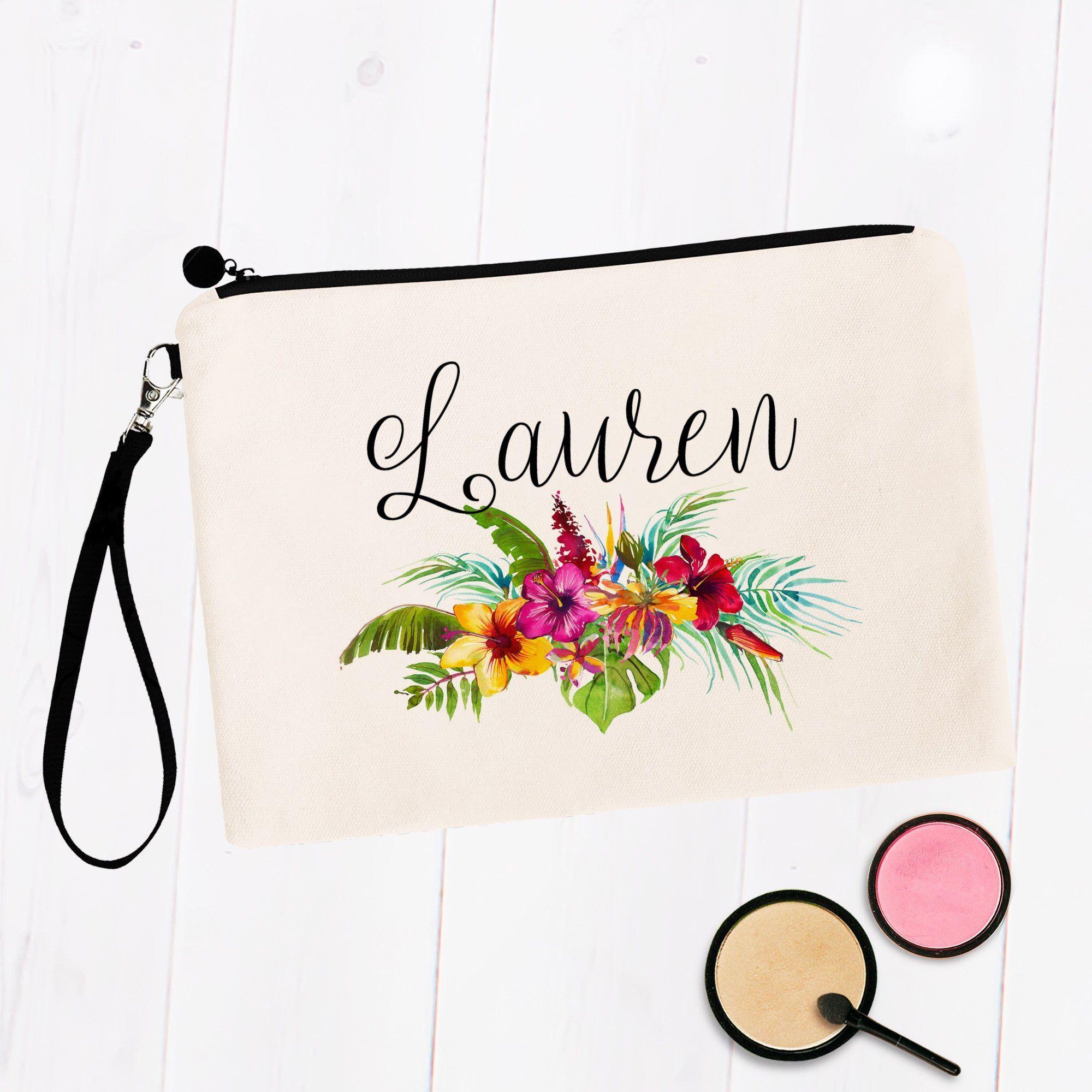 Tropical Hibiscus Floral Custom Name Makeup Bag in 2020