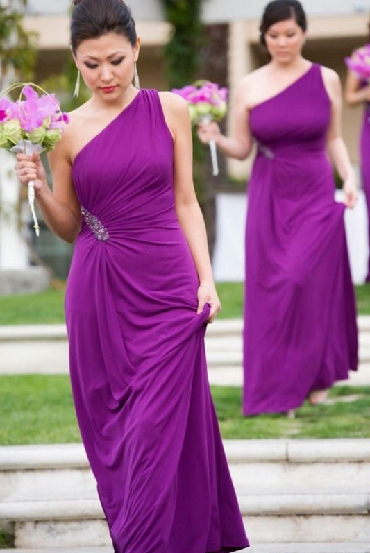 Hot Crystal One Shoulder Purple Bridesmaid Gown Blue Peach Ivory Champagne Silver C Chiffon Dresses Fast Shipping