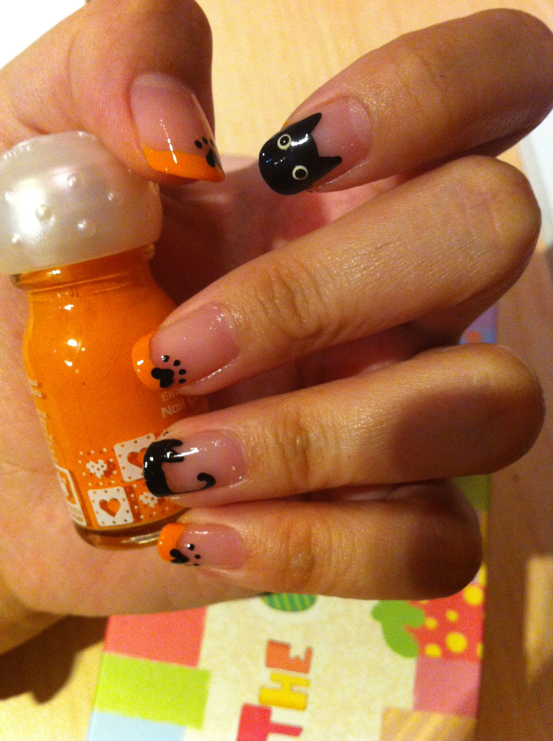 Halloween French tip nails Purfect for Halloween;)) 擁有最可愛的小黑 ...