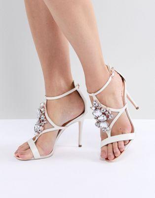 Liosa Embellished T-Bar Heeled Sandals - Ivory satin Ted Baker niUXhSAt