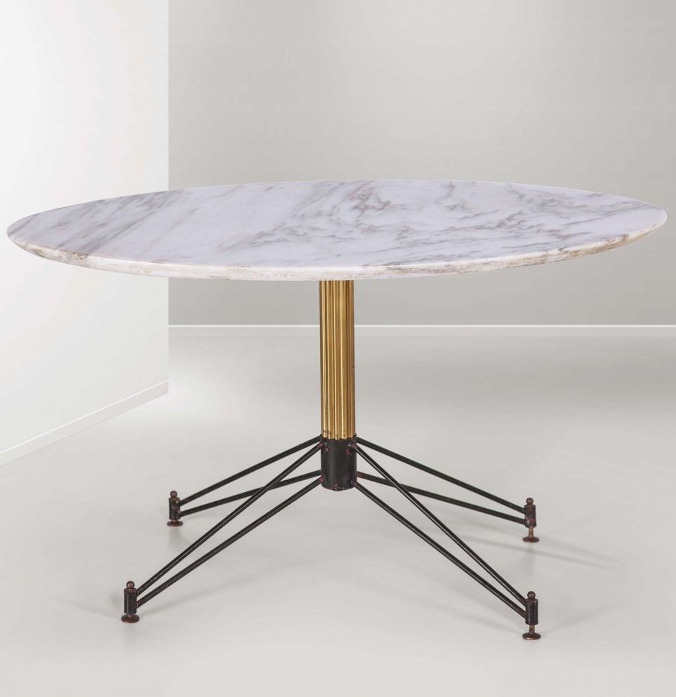 Anonymous Marble Brass And Enameled Metal Table 1950s