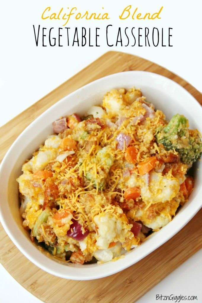 California Blend Vegetable Casserole It's a true medley of veggies and cheesy goodness topped off with a cracker crumb topping. It's SO good, in fact, you may ignore your main course altogether and go back for seconds on the vegetables. #familyfavorite