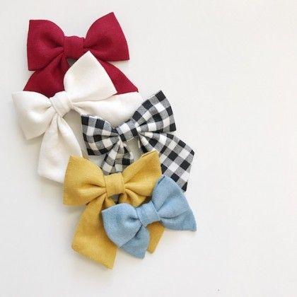 Linen Sailor Bows Diy Hair Bows Fabric Hair Bows Ribbon Hair Bows
