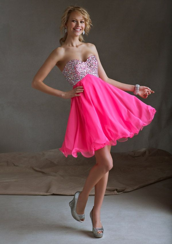 2014 Short Mori Lee Homecoming Dresses 9245 Beaded Chiffon | www ...