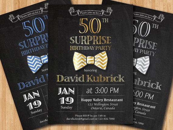 50th Birthday Invitation For Men Bowtie Little Man Invite
