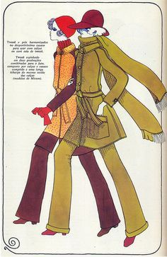 Resultado de imagem para 70's fashion illustration