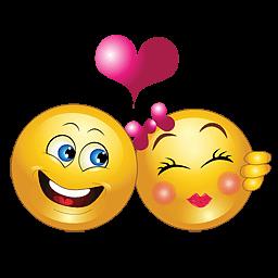 liefdes smiley met verliefd stel en hartje smiley