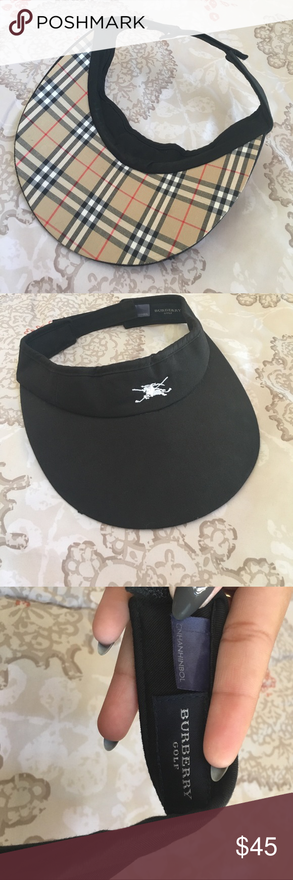 Burberry golf hat Black Burberry visor hat with adjustable strap! Has small  defect on last picture! OVERALL Cute hat for shade! Burberry Other f1c5524a8e7b