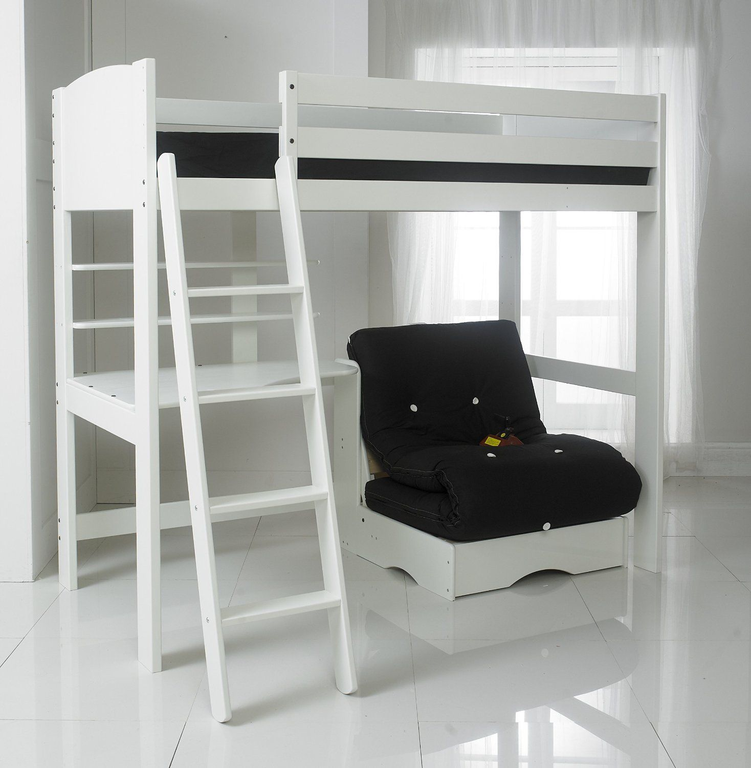 Loft bed with desk white  High Sleeper Bed with Black Futon Desk and  Shelves Ft Single