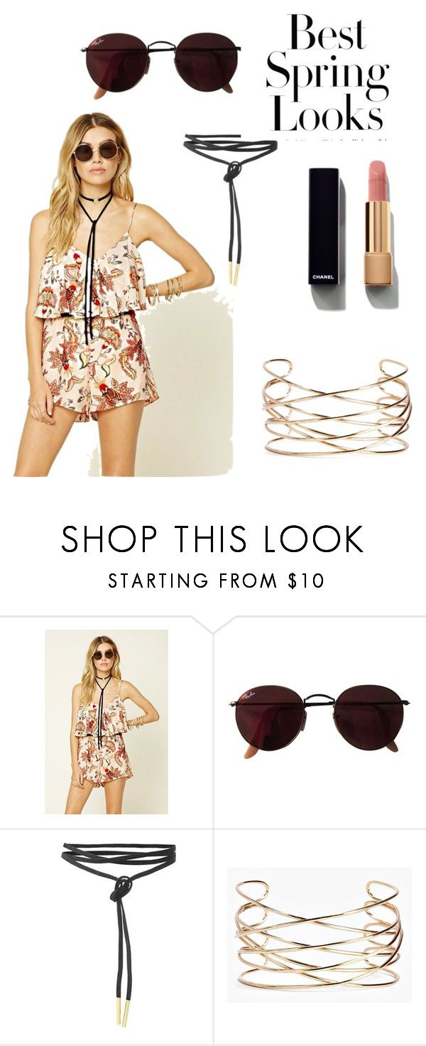 """""""Spring Romper"""" by fishgotwings on Polyvore featuring Forever 21, Ray-Ban, Boohoo, Chanel and H&M"""