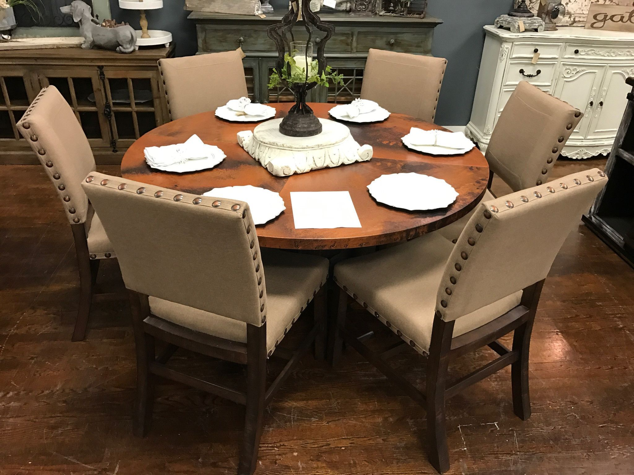 "Copper top 60""Round Dining Table and 6 Linen Nailhead ..."