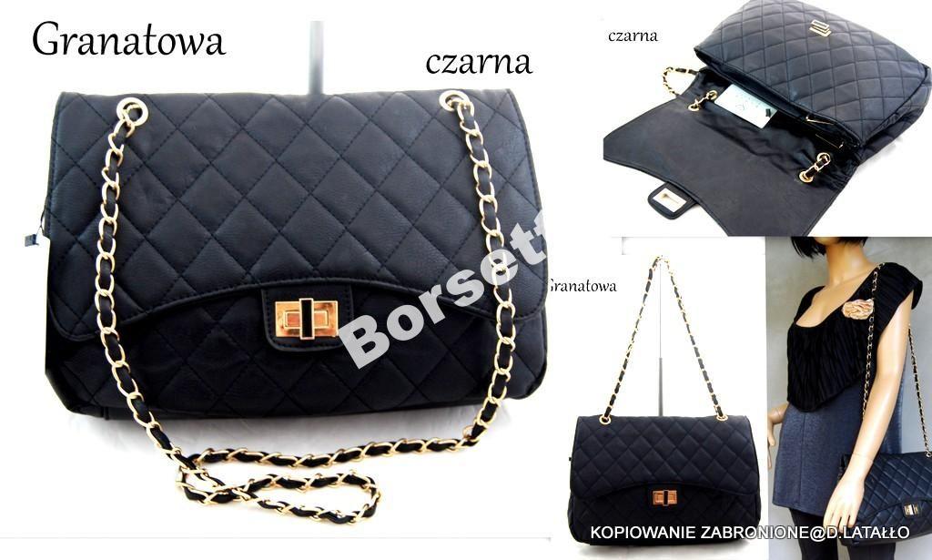 Torebka Chanelka Pikowana Lancuszek Czarna Granat 4655900441 Oficjalne Archiwum Allegro Shoulder Bag Bags Chanel Classic