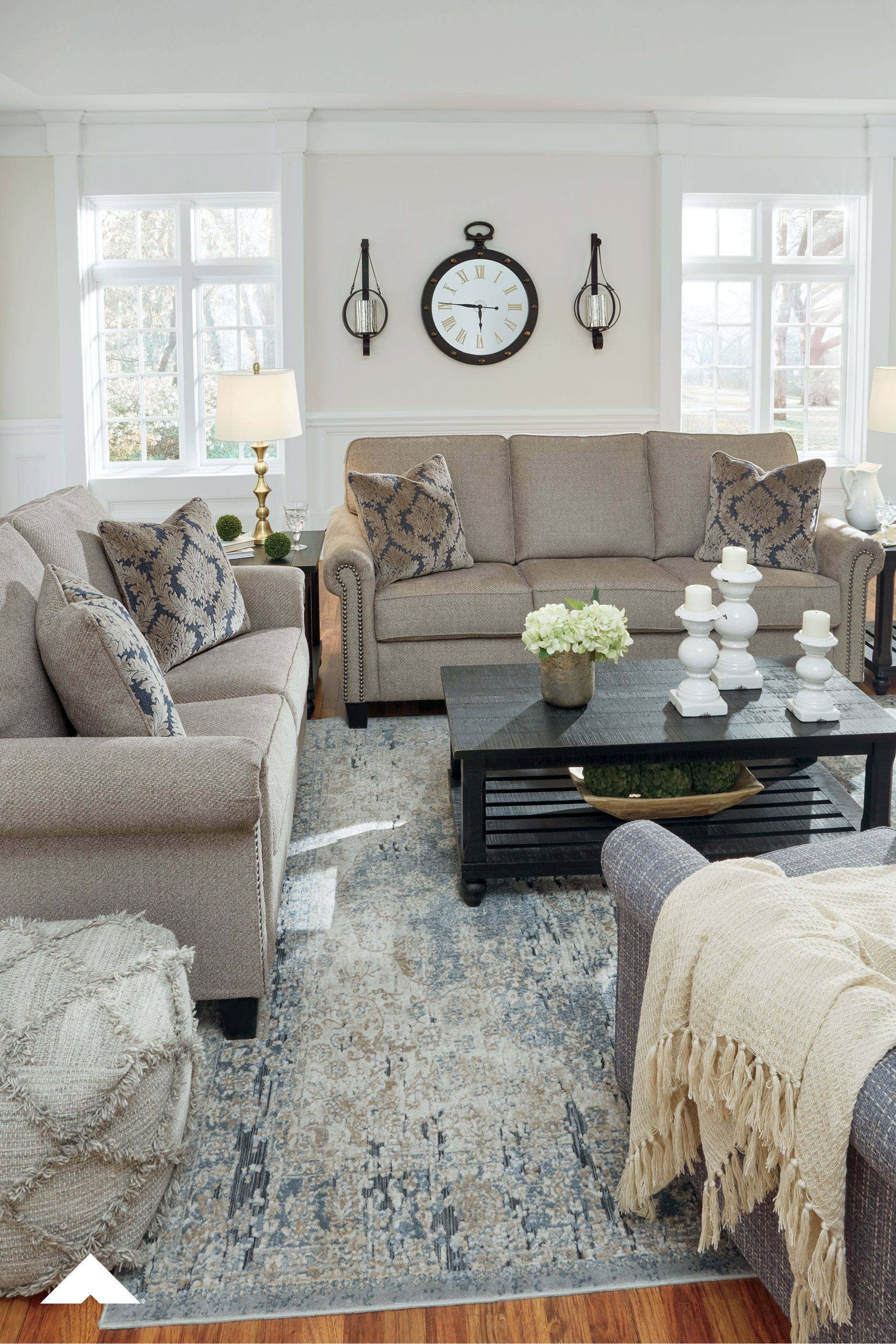 Basiley Pewter Sofa And Loveseat Living Room Decor Ideas