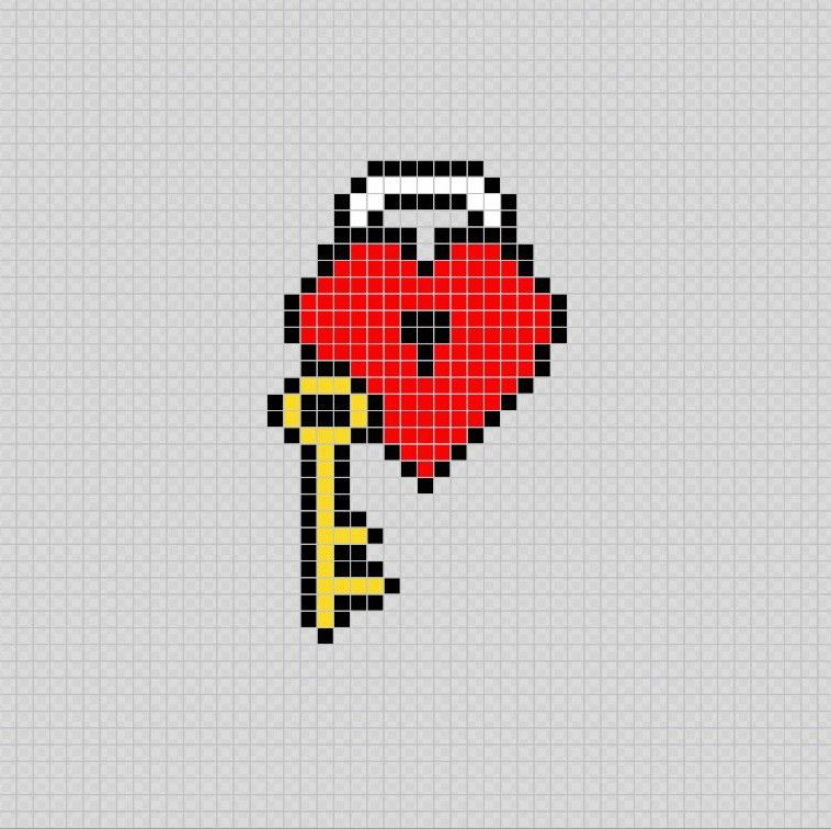 Corazon Y Llave Heart And Key Pixel Art Patterns Dibujos En Cuadricula Dibujos En Cuadros Dibujos En Pixeles