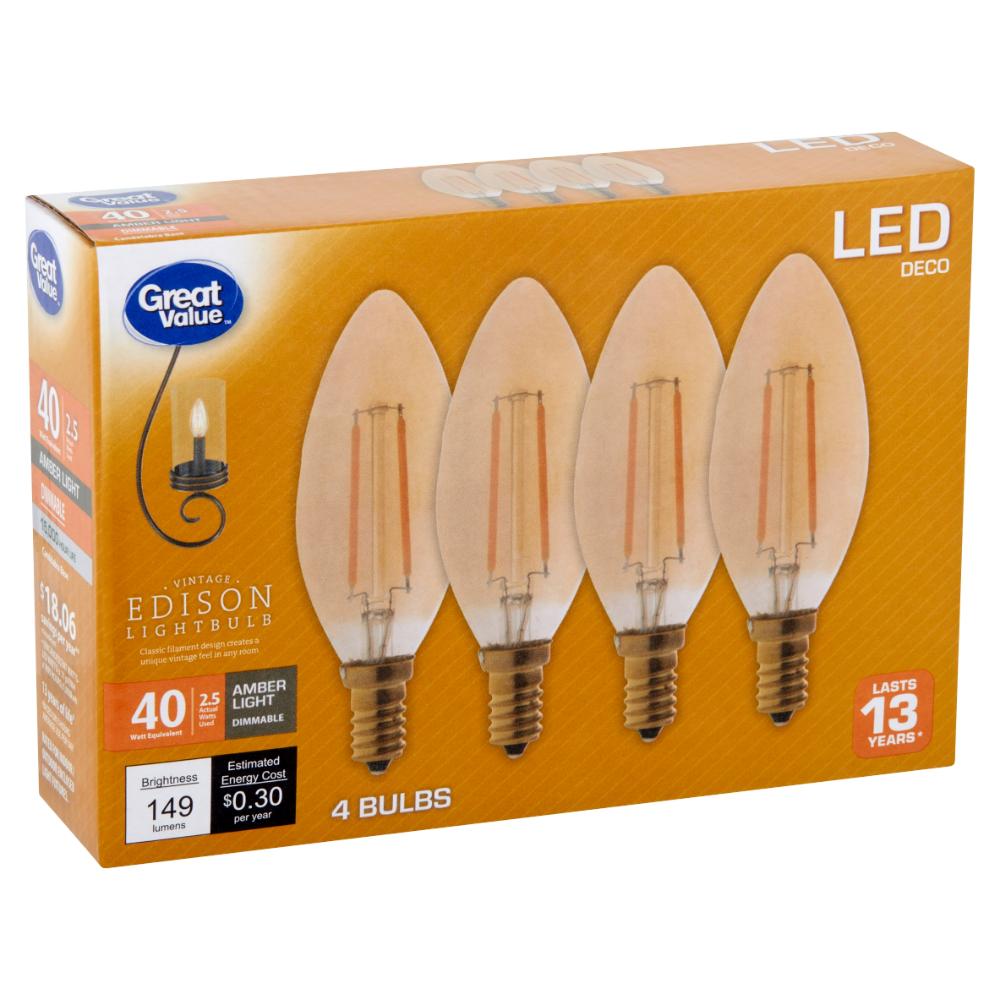 Household Essentials Amber Lights Bulb Edison Light Bulbs