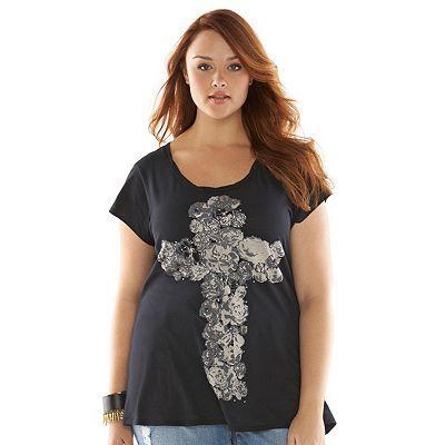Rock & Republic® Snap-Back Graphic Tee - Women's Plus Size