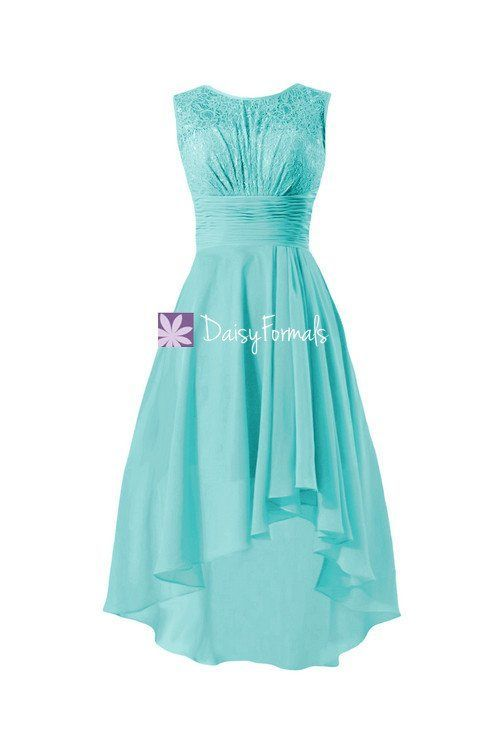 Chic Lace Party Dress Tiffany Blue Lace Bridesmaids Dress High Low ...