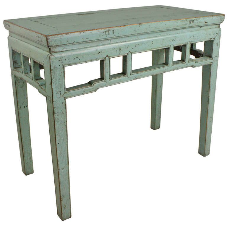 Awesome Light Blue Painted Vintage Chinese Console Table | From A Unique Collection  Of Antique And Modern