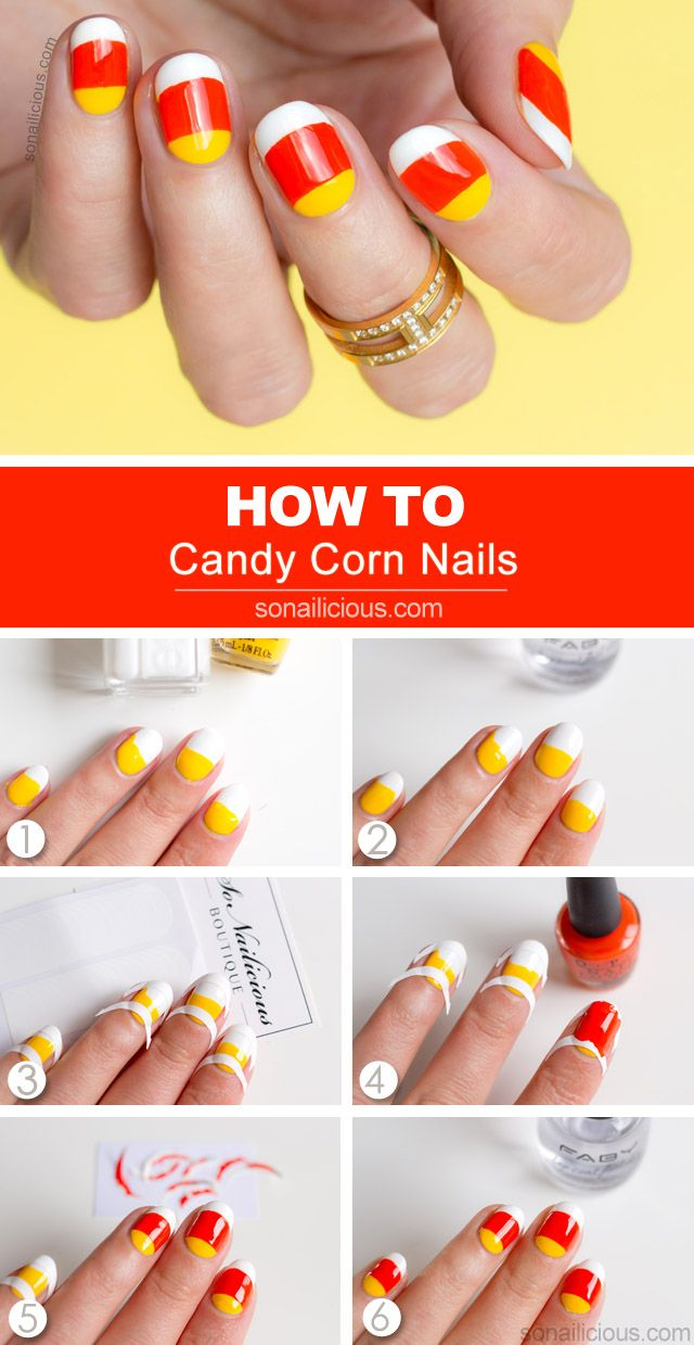 Candy Corn Nails For Tutorial