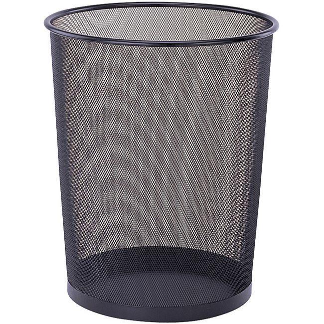 Organize It All Round Black Wastebasket Metal