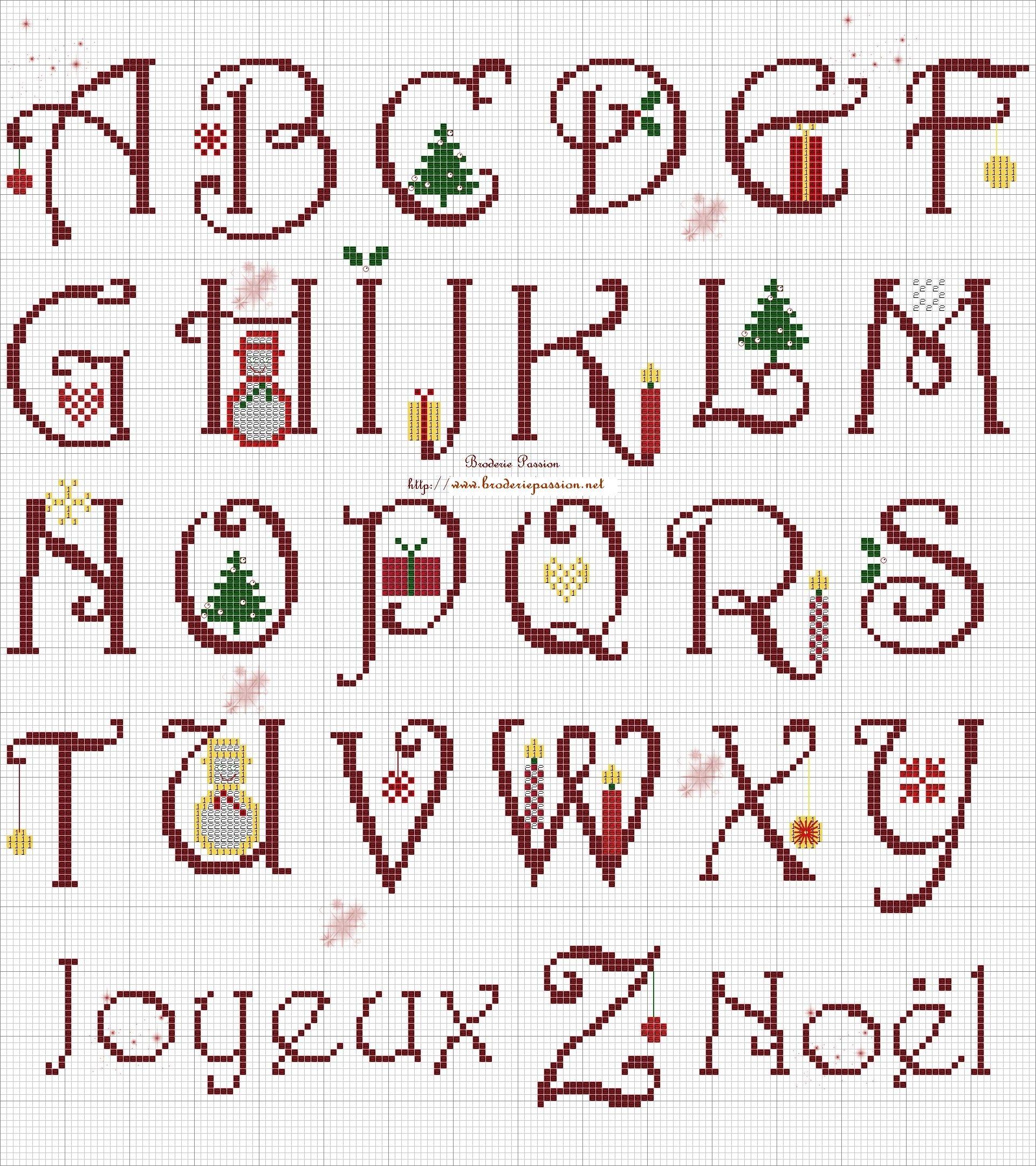 Abc Noel Alphabet Point De Croix Point De Croix Abecedaire Point De Croix