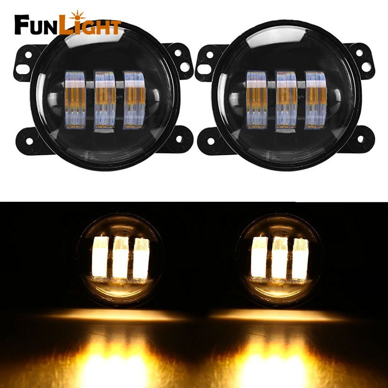 4 Inch Amber Yellow 60w 4800lm Fog Lights For Jeep Wrangler Jk Tj