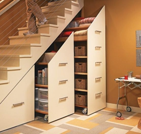 modern storage design under staircase | Pinterest ...