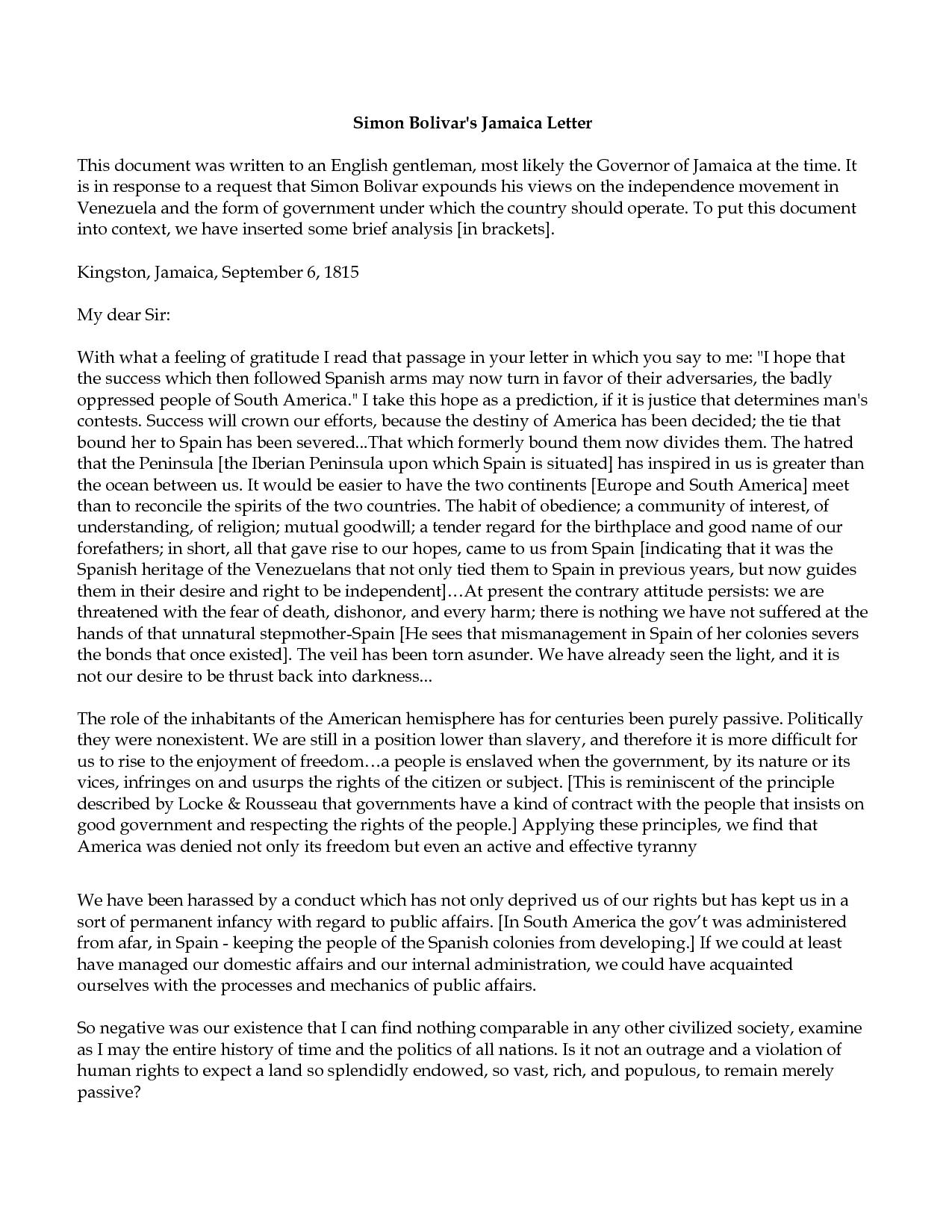 Simon Bolivar S The Jamaican Letter